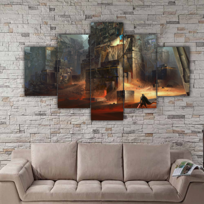5 Panels Star Wars Buildings Multi Canvas Art