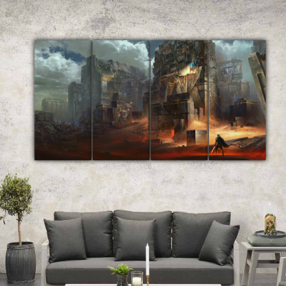 4 Panels Star Wars Buildings Multi Canvas Art