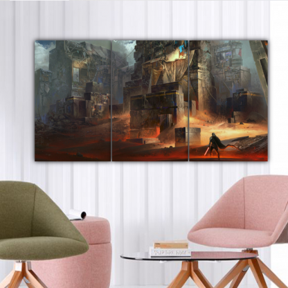 3 Panels Star Wars Buildings Multi Canvas Art