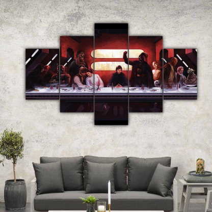 5 Panels Star Wars Last Meal Multi Canvas Art