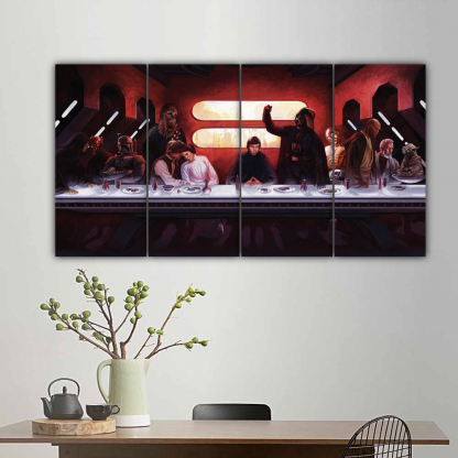 4 Panels Star Wars Last Meal Multi Canvas Art