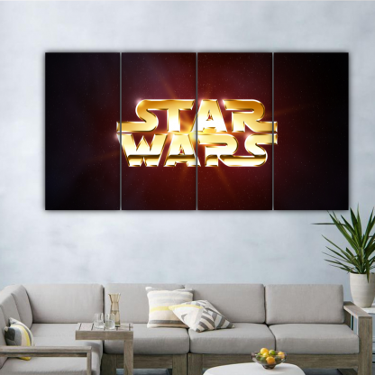 4 Panels Star Wars Logo Art Multi Canvas Art