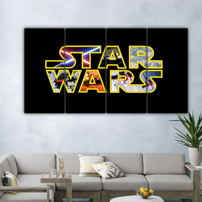 4 Panels Star Wars Poster Multi Canvas Art