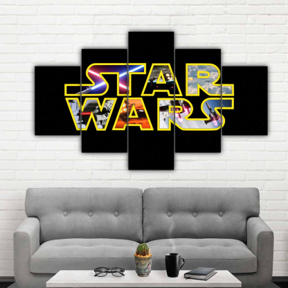 5 Panels Star Wars Poster Multi Canvas Art