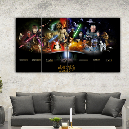 4 Panels Star Wars Sequels And Prequels Multi Canvas Art