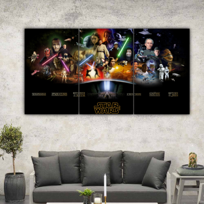 3 Panels Star Wars Sequels And Prequels Multi Canvas Art