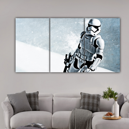 3 Panels Stormtrooper In Snow Multi Canvas Art