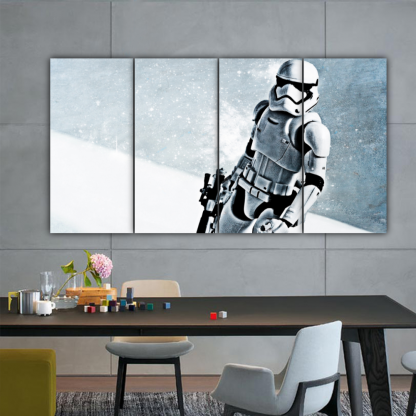 4 Panels Stormtrooper In Snow Multi Canvas Art