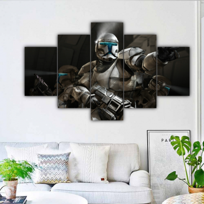 5 Panels Stormtroopers In Action Multi Canvas Art