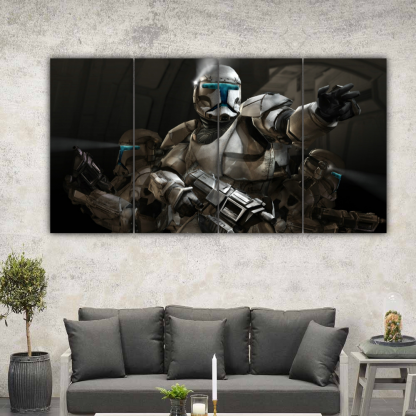 4 Panels Stormtroopers In Action Multi Canvas Art
