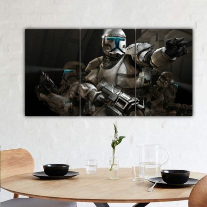 3 Panels Stormtroopers In Action Multi Canvas Art