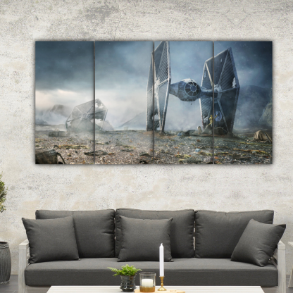 4 Panels TIE Fighter In Battle Multi Canvas Art