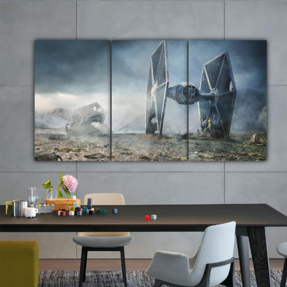 3 Panels TIE Fighter In Battle Multi Canvas Art