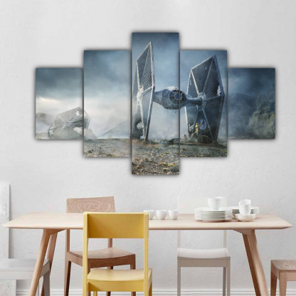 5 Panels TIE Fighter In Battle Multi Canvas Art