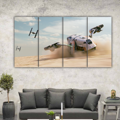 4 Panels TIE Fighters and Cargo Spaceship Multi Canvas Art