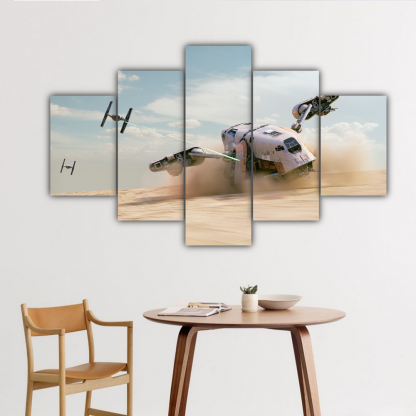 5 Panels TIE Fighters and Cargo Spaceship Multi Canvas Art