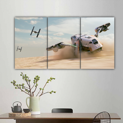 3 Panels TIE Fighters and Cargo Spaceship Multi Canvas Art
