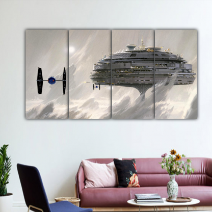 4 Panels TIE fighter and Cloud City Multi Canvas Art