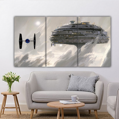 3 Panels TIE fighter and Cloud City Multi Canvas Art