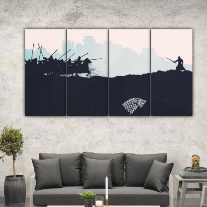 4 Panels The Battle Of Bastards Multi Canvas Art