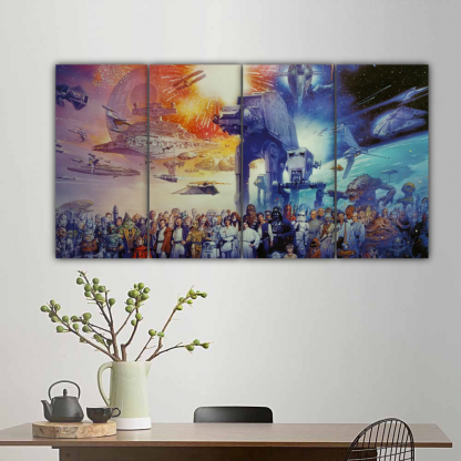 4 Panels The Star Wars world Multi Canvas Art