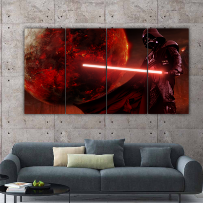 4 Panels Vader In Mustafar Multi Canvas Art