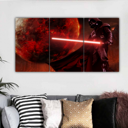 3 Panels Vader In Mustafar Multi Canvas Art