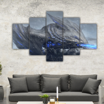 5 Panels White Walkers In Action Multi Canvas Art