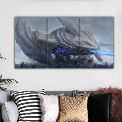 3 Panels White Walkers In Action Multi Canvas Art
