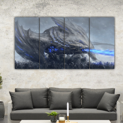 4 Panels White Walkers In Action Multi Canvas Art