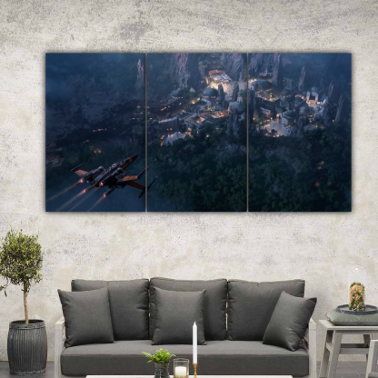 3 Panels X Wing above a town Multi Canvas Art