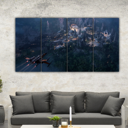 4 Panels X Wing above a town Multi Canvas Art