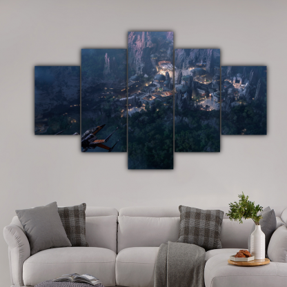 5 Panels X Wing above a town Multi Canvas Art