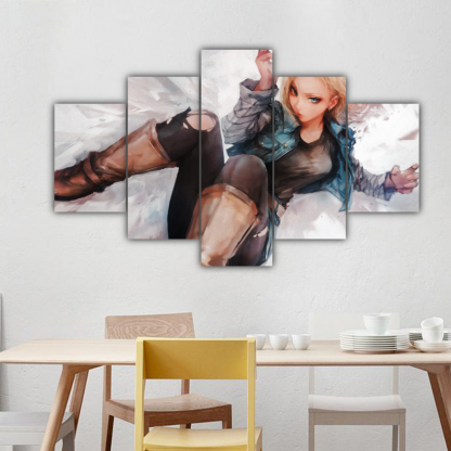 5 Panels Android 18 Multi Canvas Art