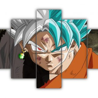 5 Panels Black Goku and Goku Multi Canvas Art