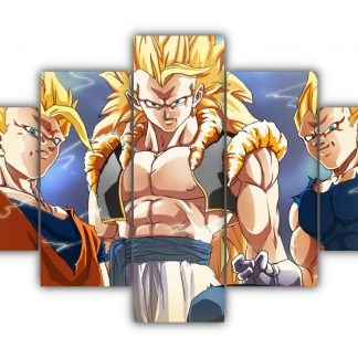 5 Panels Goku SS3 Gogeta and Vegeta Multi Canvas Art