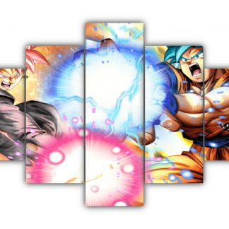 5 Panels Goku Vs Black Goku Multi Canvas Art