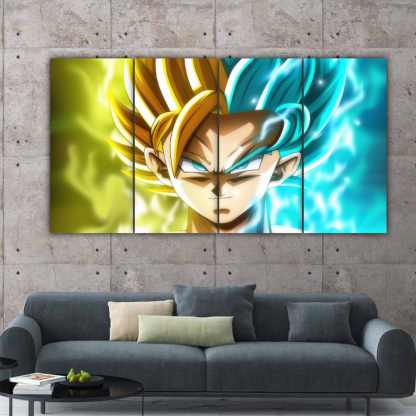 4 Panels Goku and Caulifla Multi Canvas Art