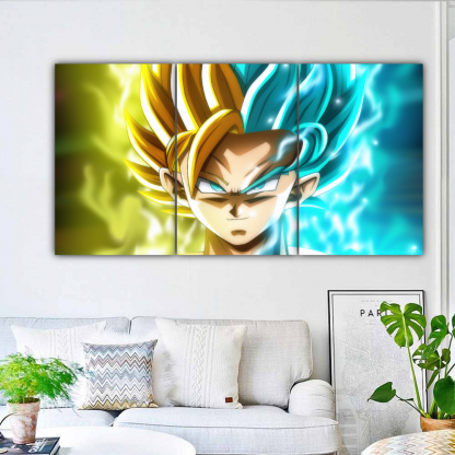 3 Panels Goku and Caulifla Multi Canvas Art