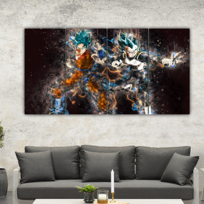 4 Panels Goku and Vegeta Multi Canvas Art