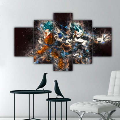 5 Panels Goku and Vegeta Multi Canvas Art
