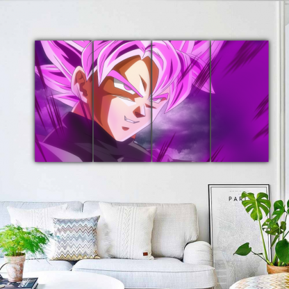 4 Panels SSR Black Multi Canvas Art