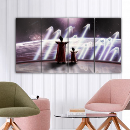 4 Panels The King and Prince of all Saiyans Multi Canvas Art
