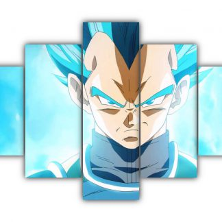 5 Panels Vegeta SSJ God Multi Canvas Art